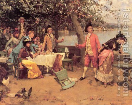 The Toast by Auguste Emile Pinchart - Reproduction Oil Painting