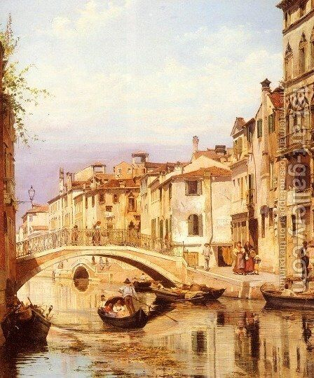 A Gondola On A Venetian Backwater Canal by Antonietta Brandeis - Reproduction Oil Painting