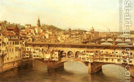 View Of The Ponte Vecchio, Florence by Antonietta Brandeis - Reproduction Oil Painting
