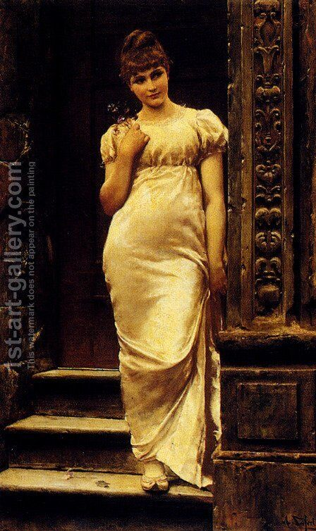 A Young Beauty In A Doorway by Alfred Seifert - Reproduction Oil Painting