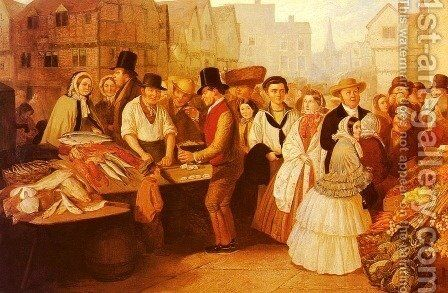 A Busy Market by Alfred H. Green - Reproduction Oil Painting