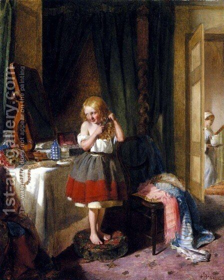 The Haircut by Edward Charles Barnes - Reproduction Oil Painting
