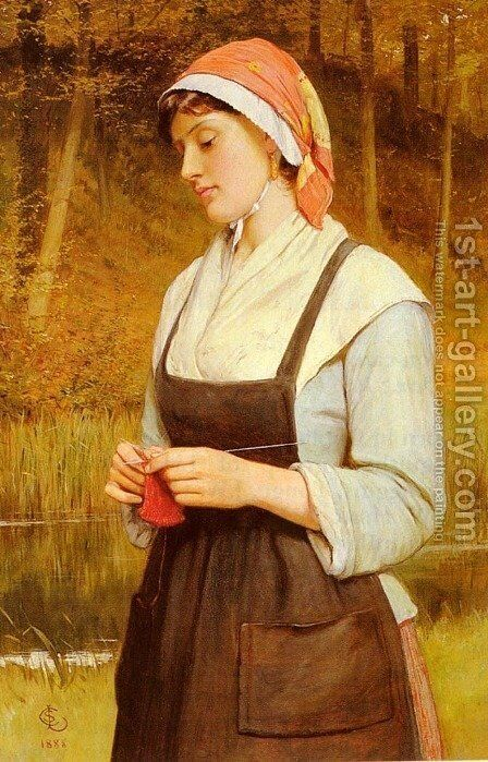 Knitting by Charles Sillem Lidderdale - Reproduction Oil Painting