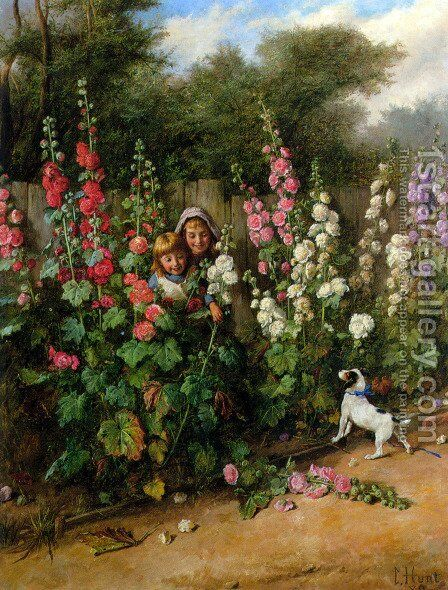 Behind the Hollyhocks by Charles Hunt - Reproduction Oil Painting