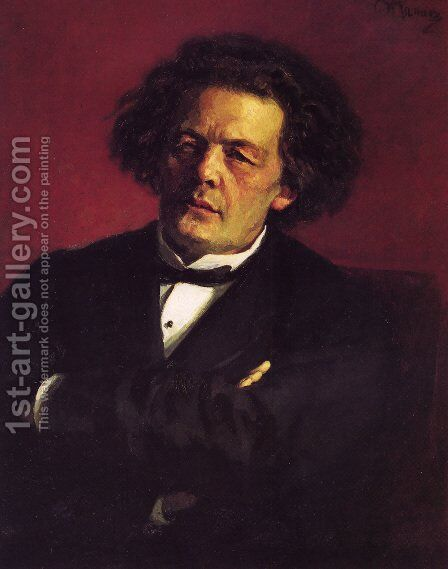 Portrait of the pianist, conductor, and composer, Anton Grigorievich Rubinstein by Ilya Efimovich Efimovich Repin - Reproduction Oil Painting