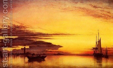 Sunset On The Lagune Of Venice - San Georgio-In-Alga And The Euganean Hills In The Distance by Edward William Cooke - Reproduction Oil Painting
