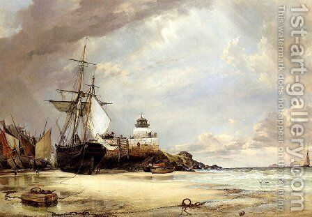 The Pier And Bay Of St. Ives, Cornwall by Edward William Cooke - Reproduction Oil Painting