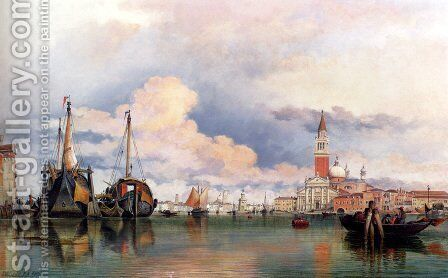 The Church Of The Gesuati And Riva Delle Zattere, With San Giorgio Maggiore Looking East by Edward William Cooke - Reproduction Oil Painting