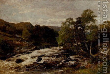 After a spate on the Lledr by David Bates - Reproduction Oil Painting