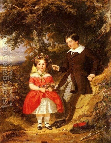 Portrait Of George And Ann Harvey by Jacob Thompson - Reproduction Oil Painting