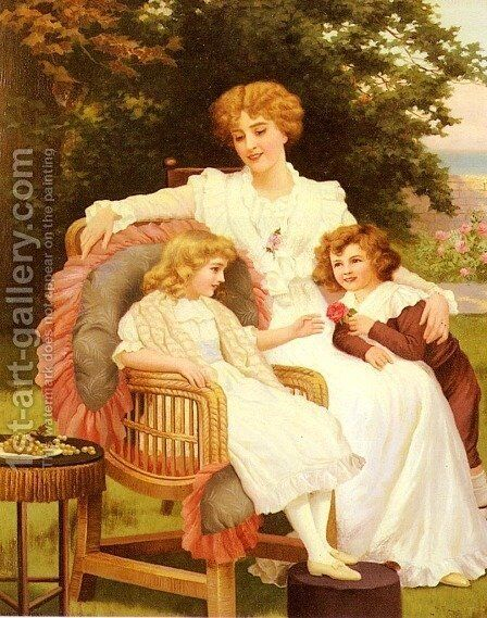 In The Garden by Herbert Blande Sparks - Reproduction Oil Painting
