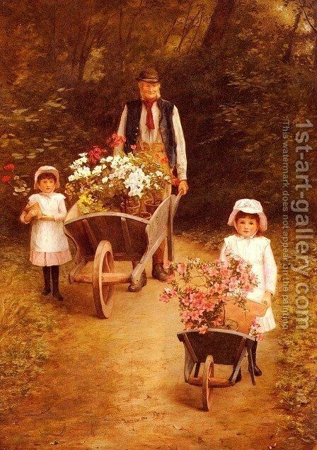 Helping Gardener by Mary Hayllar - Reproduction Oil Painting