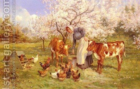 Feeding Time In The Orchard by Claude Cardon - Reproduction Oil Painting