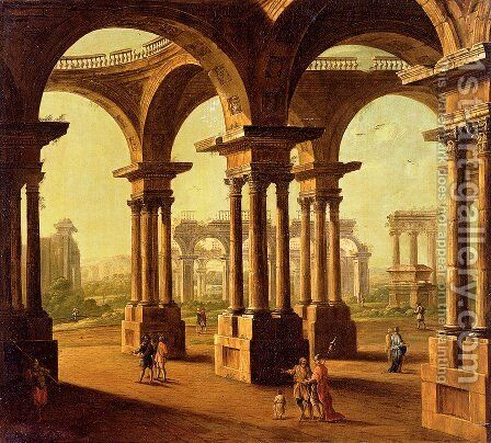 Cappricio Of Roman Ruins with Classical Figures by Antonio Joli - Reproduction Oil Painting