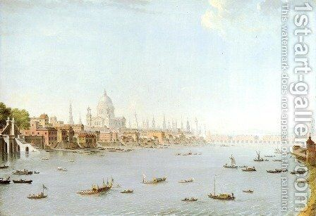 The Thames Looking Towards The City by Antonio Joli - Reproduction Oil Painting