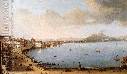 View Of Naples From The Strada Di Santa Lucia by Antonio Joli - Reproduction Oil Painting