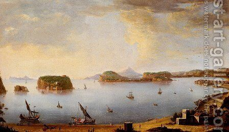 View Of The Bay Of Pozzuoli With The Port Of Baia, The Islands Of Nisida, Procida, Ischia And Capri by Antonio Joli - Reproduction Oil Painting