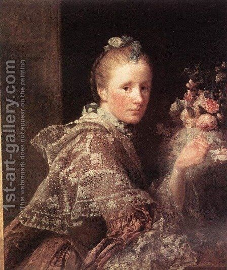 Portrait of the Artist's Wife by Allan Ramsay - Reproduction Oil Painting