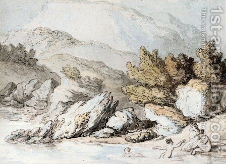 Nymphs Bathing by Thomas Rowlandson - Reproduction Oil Painting