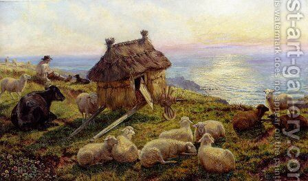 On The Cliffs, Picardy by Henry William Banks Davis, R.A. - Reproduction Oil Painting
