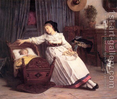Alsacienne Berçant son enfant (Alsation Rocking her Child) by Camille Aflred Pabst - Reproduction Oil Painting