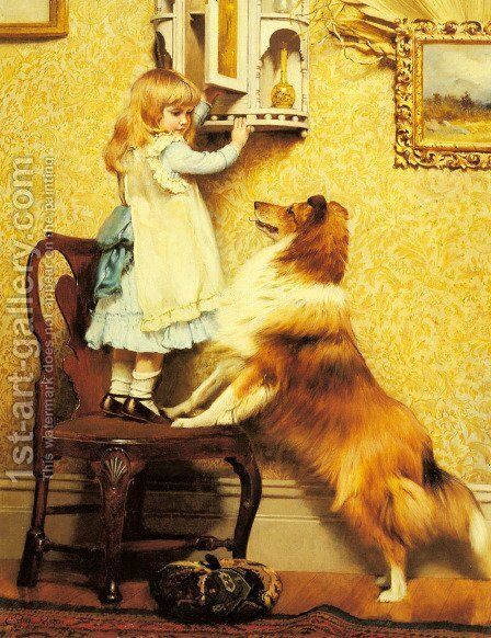 A Little Girl and her Sheltie by Charles Burton Barber - Reproduction Oil Painting