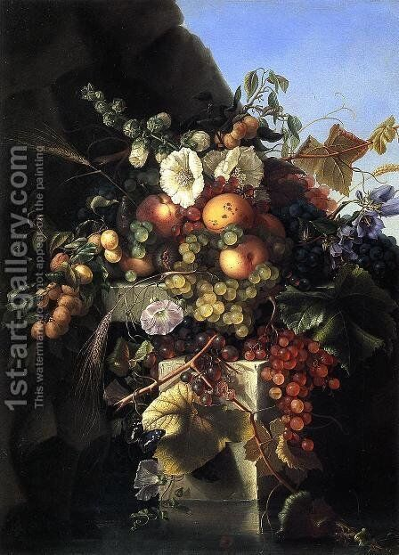 Still Life With Grapes, Peaches, Flowers And A Butterfly by Adelheid Dietrich - Reproduction Oil Painting