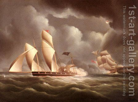 A British Frigate Attacking A Pirate Lugger At Night by James E. Buttersworth - Reproduction Oil Painting