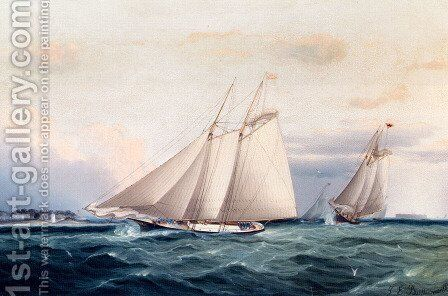 Around The Point by James E. Buttersworth - Reproduction Oil Painting
