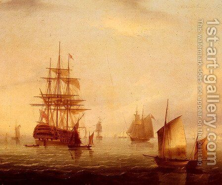 Sailing Vessels Off A Coastline by James E. Buttersworth - Reproduction Oil Painting