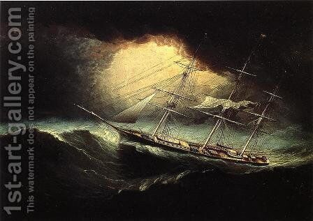 Ship In A Storm by James E. Buttersworth - Reproduction Oil Painting