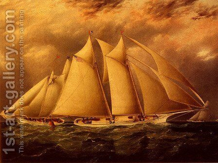 Yacht Alice Rounding The Buoy by James E. Buttersworth - Reproduction Oil Painting