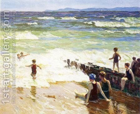 Bathers by the Shore by Edward Henry Potthast - Reproduction Oil Painting