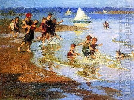 Children at Play on the Beach by Edward Henry Potthast - Reproduction Oil Painting