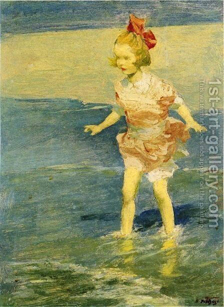In the Surf by Edward Henry Potthast - Reproduction Oil Painting