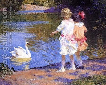 The Swan by Edward Henry Potthast - Reproduction Oil Painting