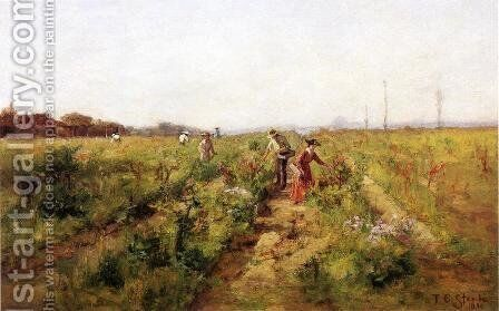 In the Berry Field by Theodore Clement Steele - Reproduction Oil Painting