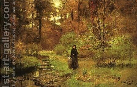 The Brook in the Woods by Theodore Clement Steele - Reproduction Oil Painting