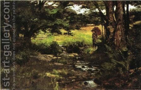 Brook in Woods by Theodore Clement Steele - Reproduction Oil Painting