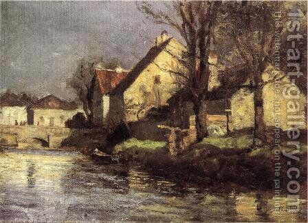 Canal, Schlessheim by Theodore Clement Steele - Reproduction Oil Painting