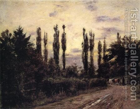 Evening, Poplars and Roadway near Schleissheim by Theodore Clement Steele - Reproduction Oil Painting