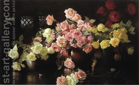 Roses by Joseph Rodefer DeCamp - Reproduction Oil Painting