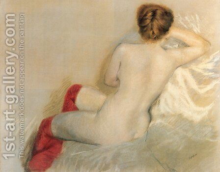 Nudo con le Calze Rosse by Giuseppe de Nittis - Reproduction Oil Painting