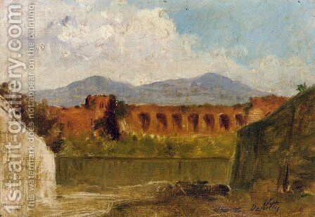 A Roman Aqueduct by Giuseppe de Nittis - Reproduction Oil Painting