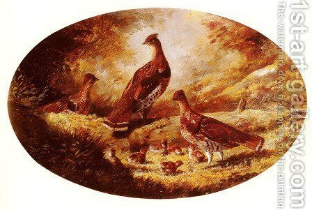 Grouse Family by Arthur Fitzwilliam Tait - Reproduction Oil Painting