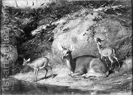 Doe and Two Fawns by Arthur Fitzwilliam Tait - Reproduction Oil Painting
