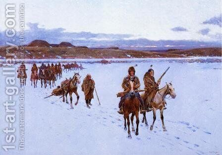 Departure for the Buffalo Hunt by Henry Farny - Reproduction Oil Painting