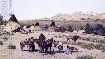 Among the Foothills by Henry Farny - Reproduction Oil Painting