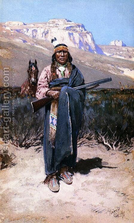 Indian Brave by Henry Farny - Reproduction Oil Painting