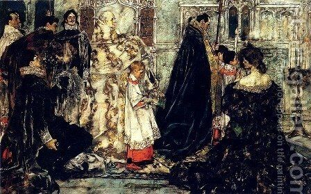 A Medieval Christmas--The Procession by Albert B. Wenzell - Reproduction Oil Painting